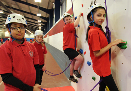 Students on the climbing wall